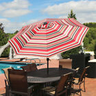 Sunnydaze 9 Foot Aluminum Solar LED Lighted Umbrella with Tilt Awning Stripe