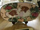 Original ART ceramic dish Paula Womacks Hound HUNTING DOGS flowers 135 x 7