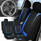 Car Seat Covers For Auto Blue Black Full Set Wgray Leather Steering Wheel
