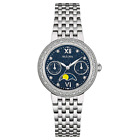 Bulova Women's Diamond Accents Moon Phase Silver-Tone 31.5mm Watch 96R210