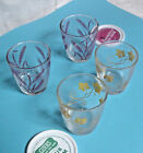 4 Vintage  Half Pint Sour Cream Glasses 2 Each Red Wheat and Yellow Ivy 2 Tops