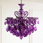 New Horchow Murano Style Purple Glass Bella Chandelier Modern Glam Light Fixture