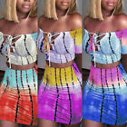 Women 2 Piece Bodycon Two Piece Crop Top and Short Skirt Set Bandage Dress Party