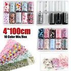 Starry Flower Foil Transfer Decals Holographic Nail Sticker Mix Style