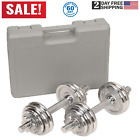 DUMBBELL SET ADJUSTABLE Weight Plates 33 Lb Steel Chrome Fitness Exercise Work