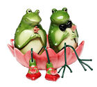 Cute Frog Boy and Girl Couple Sitting in Pink Lily Pad Salt and Pepper Shaker