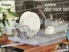 Polder 4 Piece Dish Rack Set Slide Out Drying Tray Clear NEW