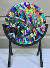 Dichroic Fused Glass Abstract Free Standing Sculpture Artist Signed