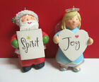 Hallmark SANTA (SPIRIT) and ANGEL (JOY) Loose Hanging Ornament