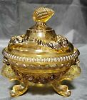 WESTMORELAND GLASS COVERED AMBER CANDY DISH SEASHELLS  DOLPHINS