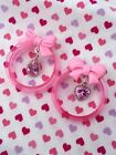 Pair Of Pastel Pink Tunnel Gauges 25mm 1 Inch Pink Tunnels Girly Bow Gauges