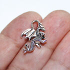 Dragon Charms Antique Silver Tone Two Sided 3D 10 charms in one lot
