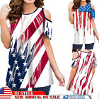 NEW Womens American Flag 4th Of July Short Sleeve Blouse Tops Cold Shoulder Tee