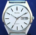 Bulova 5 jewel quartz day/date vintage 1980 stainless watch with original band