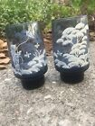 Vintage Blue Stackable Drinking Glasses Set Of 2 About 5