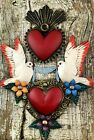 TIN HEARTS SET Mexican Folk Art Heart with Doves Sacred + Heart with Flames