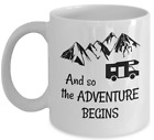 Camping coffee mug And so the adventure begins campers RV nature lover gift