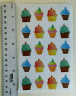 Mrs Grossman WATERCOLOR CUPCAKES Sheet of Decorated Cupcake Stickers