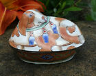 Tan White Painted DOG Shaped Enameled Metal Open Salt Dip Cellar Dish