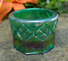 Iridescent Green Glass Open Salt Dip Cellar Dish w Diamond Pattern