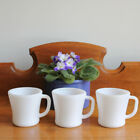 Federal Glass White Milk Glass Heat Proof D Handle Coffee Cup Mugs - Set of 3