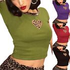 Summer Womens Heart Leopard Printed T shirts Short Sleeve Cropped Shirt Tops