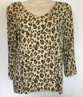Chicos Womens Top Animal Print Beige Size 1 V Neck 3 4 Sleeve Blouse Shirt