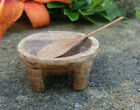 Tiny Hand Carved Wooden Treen Open Salt Dip Cellar Dish w Spoon