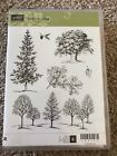 Stampin Up Wood Mount Rubber Stamp Set LOVELY AS A TREE LeavesChristmas