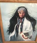 Vintage Orig Native American Woman oil painting Home Decor Art signed ZGarcia