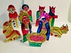 9 PIECE MEXICAN FOLK ART HAND MADE TIN NATIVITY SET 2 1 4 TO 4 1 4 TALL