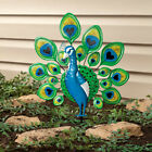 Colorful Bright Peacock Bird Metal Stake Garden Statue Yard Art Lawn Ornament