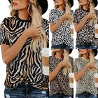 Women Leopard Print Short Sleeve T Shirt Tops Ladies Loose Blouse Crew Neck Tee