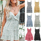 Summer Women's Boho Sexy Spaghetti Strap Casual Short Mini Dress Beach Sundress