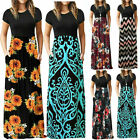 Women Summer Ethnic Beach Party Maxi Long Dress Short Sleeve Sundress Plus Size