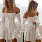 Fashion Women Floral Off Shoulder Button Long Sleeves Casual Party Pleated Dress