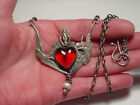 VINTAGE SWEET BIRD STUDIO STERLING ART GLASS SWALLOW BIRD HEART ICON NECKLACE