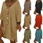 Women Boho Solid Casual Baggy Tunic Dress Summer Loose Beach Long Tops Plus Size