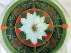 Peggy Karr Fused Art Glass White Poinsettia  Pine Cones 11 Plate Mint