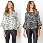 Womens Bell Sleeve Polka Dot Blouse Summer Tops Casual Loose T Shirt Plus Size