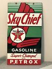 VINTAGE ORIGINAL TEXACO SKY CHIEF PORCELAIN LARGE PETROX SIGN 22 1/4