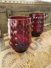 2 Vintage Juice Glasses ruby red bubble great size retro mid century bumpy
