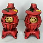 Vintage Pot Belly Stove Salt and Pepper Shakers Hand Painted Red Yellow Tulips