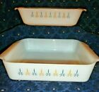 REDUCED PRICE  AH Fire King Baking Dishes, Blu Gold Candle Glow, 8