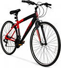 Hybrid Bike Mens Fitness Red 700C Aluminum Frame Sport Bicycle Shimano Equipped