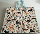 Reusable Extra Large Tote Bag 21 x 18 x 10 WOOF With Zipper Closure