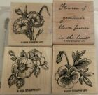 Stampin Up Flowers of Gratitude 2005 Gently Used 4 piece Stamp Set