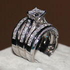 Luxury 925 Silver Filled Wedding Rings for Women White Sapphire Ring Size 6 10