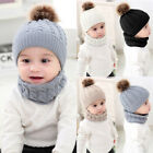Baby Winter Warm Caps Fur Knitted Beanie Ball Hats Girls Boys O Ring Scarves Set