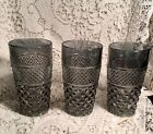 Set 3 Vintage Anchor Hocking Wexford Silver SMOKE 5 1/2in 10oz Water Tumblers